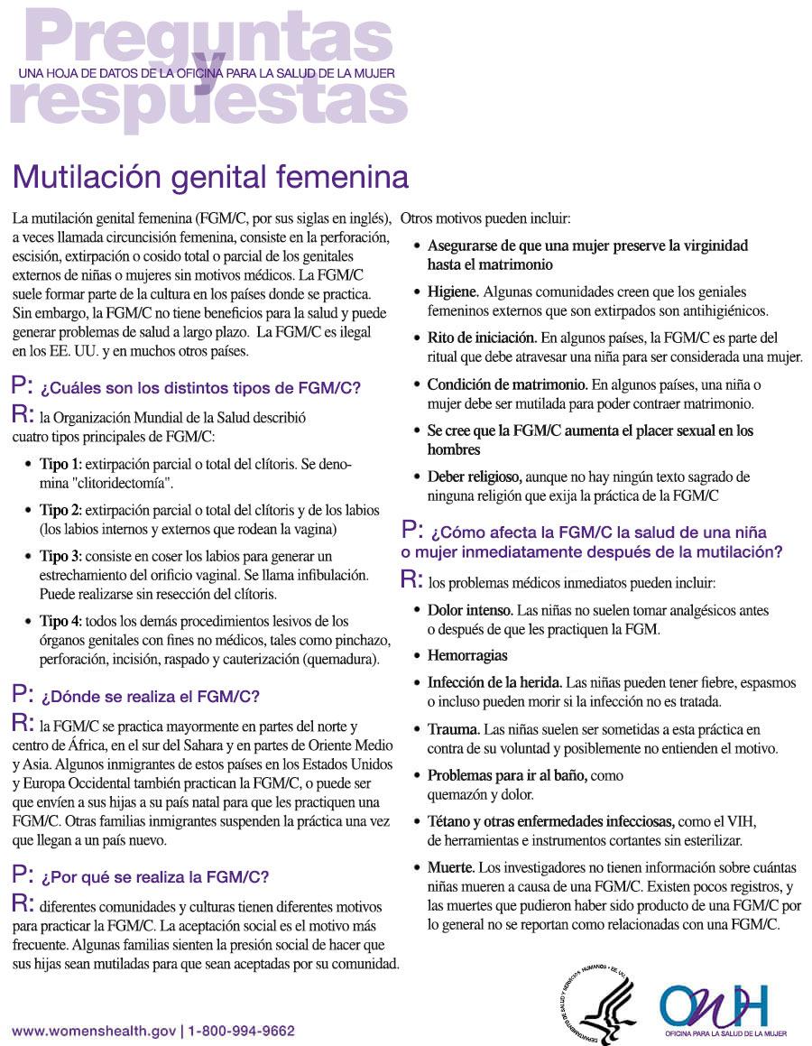 Hoja de datos sobre mtilación genital femenina
